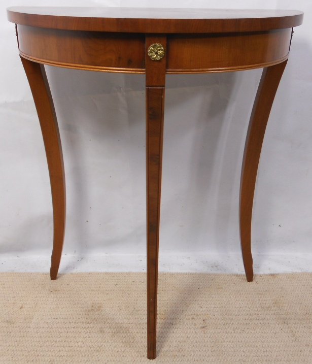 Small Yew Wood Bow Front Console Table Sold